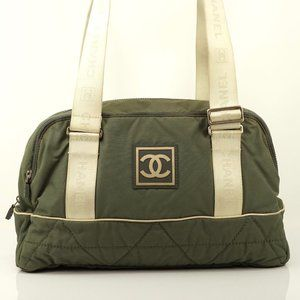 Auth Chanel Olive Nylon Shoulder Travel #1947C23